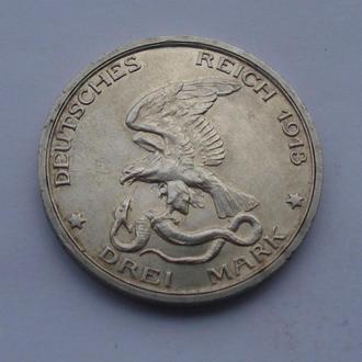 1913 г - 3 марки Германия,100 лет победы,серебро