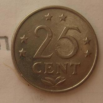 НИДЕРЛАНДСКИЕ АНТИЛЬСКИЕ ОСТРОВА 25 центов 1971 года.