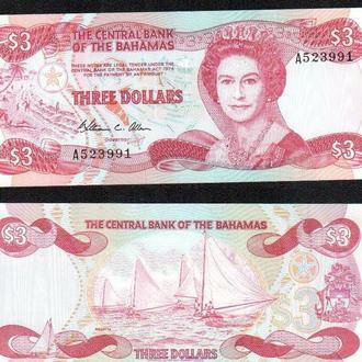 Багамы / Bahamas 3 dollars 1974(1984) Pick 44а_ 60$ _ лот № 23