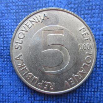 монета 5 толара Словения 2000 фауна козёл