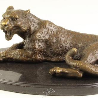 Скульптура бронзовая статуэтка фигурка бронза мрамор пантера леопард. Доставка бесплатно !