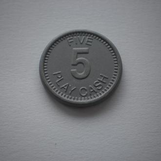 жетон ігровий гральний игровой игральный жетон казино 5 five play cash casdon відмінний стан недорог