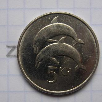 ИСЛАНДИЯ. 5 крон 2007 г. (ДЕЛЬФИНЫ).