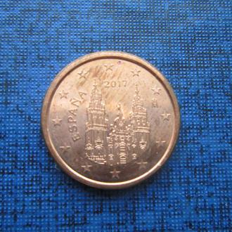 Монета 1 евроцент Испания 2017