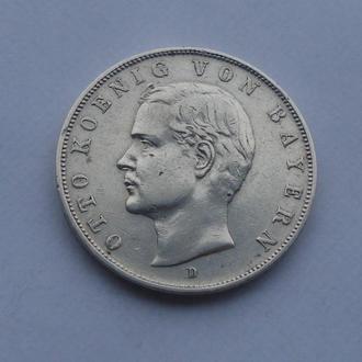 1909 г - 3 марки Германия,Бавария,Отто,серебро