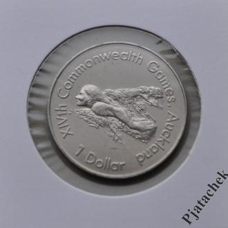 Новая Зеландия 1 доллар 1989 г. плавание  Спорт  №2
