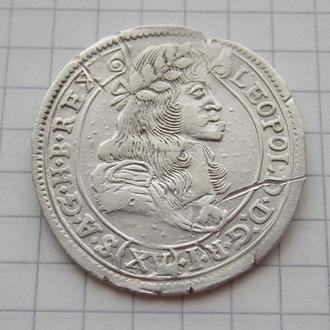 15 крейцеров 1683 года КВ Леопольд. Серебро, оригинал.