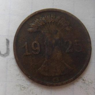 ГЕРМАНИЯ. 1 рейхспфенниг 1925 года.