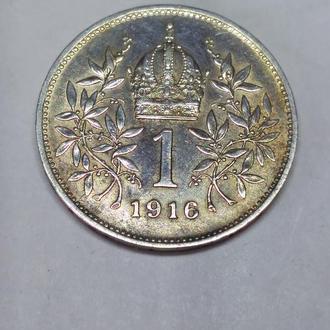 1 корона 1916 Австро-Венгрия, серебро, оригинал, unc, штемпельная!