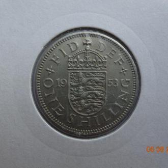 """Великобритания 1 шиллинг 1953 Elizabeth II """"Crowned English shield"""" СУПЕР состояние редкая"""