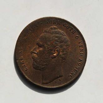 Швеция 2 эре 1861 г., XF, 'Король Карл XV Адольф (1859-1872)'