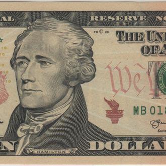 10 долларов США 2013. в UNC бона *замещения* из пачки