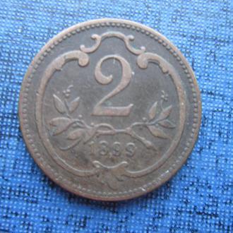 монета 2 геллера Австро-Венгрия 1899