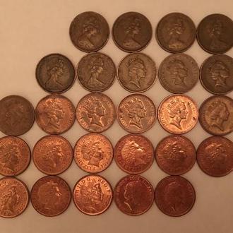 Колекція монет 1 penny Elizabeth ll 1971-2016
