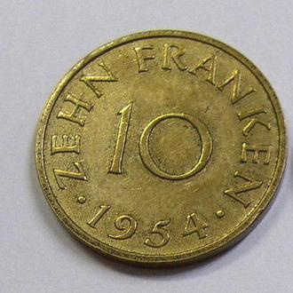 Германия, Протекторат Саар, Саарленд, Саарланд 10 франков 1954 Нечастые!