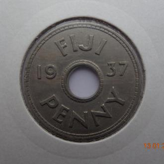 Британское Фиджи 1 пенни 1937 George VI СУПЕР состояние очень редкая