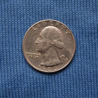США 25 центов квотер 1980 г  D