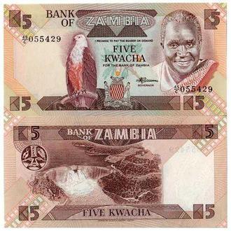 ЗАМБИЯ 5 КВАЧА (1980-88) UNC