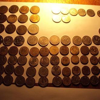 1,2,5,10,50,100 рублей 1991-2014 год - 82 монеты!