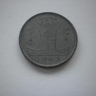 Друга світова війна. Бельгія під окупацією німців. окупаційні гроші. Бельгия 1 франк 1943 рік. СТАН!