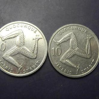 10 пенсів Мен 1992 (два різновиди) AB i AE