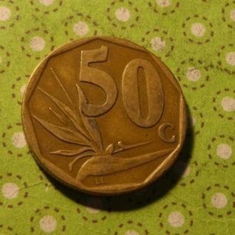 ЮАР 1996 год монета 50 центов Африка ПАР !