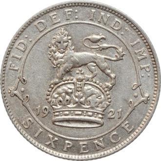 Великобритания 6 пенсов 1921 г., XF, 'Король Георг V (1910-1936)' РЕДКОЕ СОСТОЯНИЕ