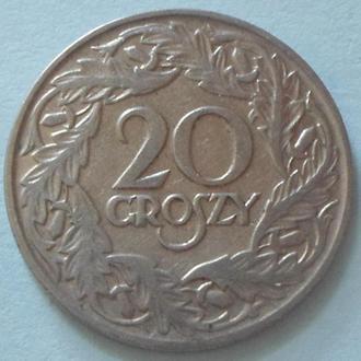 (А) Польша 20 грошей, 1923 -Никель магнетик-