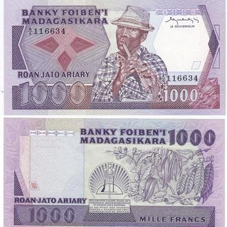 Madagascar Мадагаскар 1000 Francs Ariary 1983-1987 Pick 68a serie A/6 aUNC