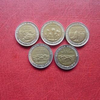 Аргентина 1 песо 2010. 200 лет Аргентине - набор 5 монет. UNC.