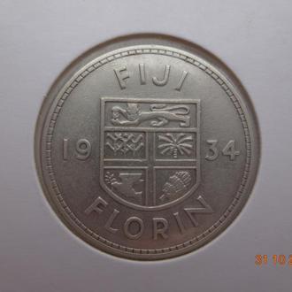 Британское Фиджи 1 флорин 1934 George V серебро отличное состояние очень редкая