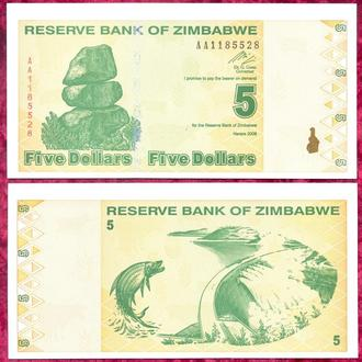 Боны Африка Зимбабве 5 доллар 2009 г.