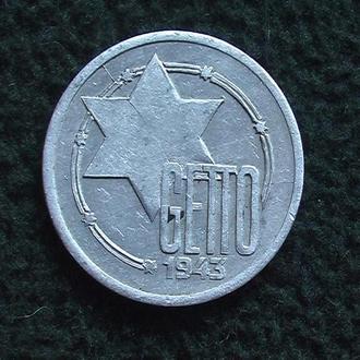 Монета Гетто 10 MARK 1943г. Лодзь Редкая.