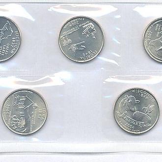 Монеты Америка США  25 центов 2 г. Комплект 5 шт UNC.