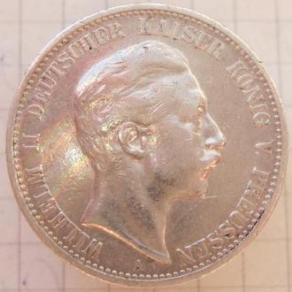 """2 марки 1904 года. Пруссия. """"А"""". Серебро ."""