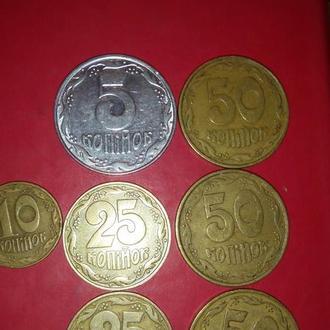 Монеты 1992 года 5, 10, 25 (2), 50 (3) копеек