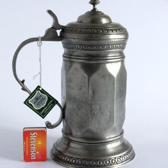 Антикварный оловянный пивной бокал 1300 мл Zinn95% Germany