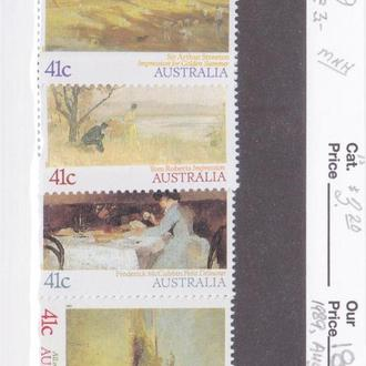 Австралия 1989 ЖИВОПИСЬ ИЗОБРАЗИТЕЛЬНОЕ ИСКУССТВО ИМПРЕССИОНИЗМ КАРТИНЫ ПЕЙЗАЖ ПОРТРЕТ Mi.1161-4**