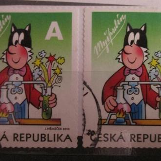 Чехія - поштові марки 2011 р.; Мишпулін чорно-білий кіт, серія Комікс Чотирилисник, 2 шт.