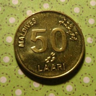 Мальдивы 2008 год монета 50 лари черепаха !