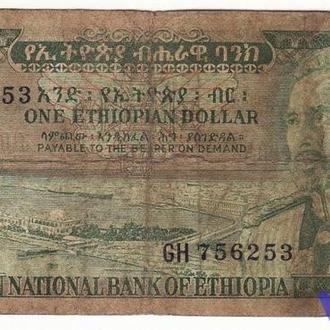 Эфиопия 1 доллар! 1966 Р25 Редкая