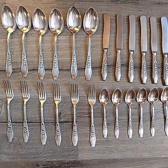 Ножи вилки ложки столовые ложки чайные мельхиор Польша 24 шт Gerlach nierdzewne BM Domart CW 10 lat