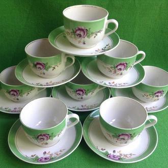 Чайные пары - чашки с блюдцами. *Довбыш*. 8 пар.