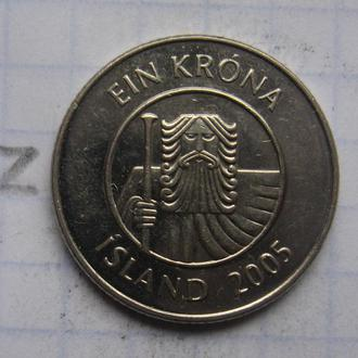 ИСЛАНДИЯ. 1 крона 2005 года (треска).