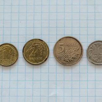 Польша 1,2,5,10 грошей