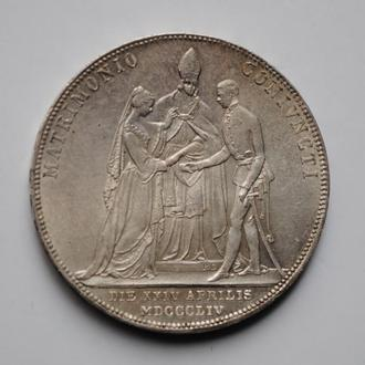 Австро-Венгрия 2 гульдена 1854 г., UNC, 'Свадьба Императора Франца Иосифа'