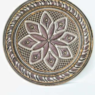 Настенная тарелка панно Орнамент ЛКСФ Львов майолика, обливная керамика
