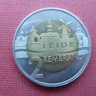 Нидерланды г.Лейден 2 евро 2006г. 400-летие со дня рождения Рембрандта