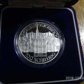 Австрия 100 шиллингов 1991 Серебро 0,900 ПРУФ