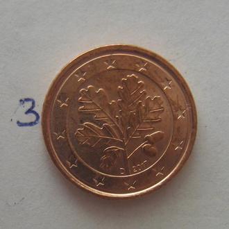 """Германия. 1 евроцент 2017 г. """"D""""."""